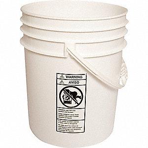 PLASTIC PAIL,ROUND,WHITE,CAP 5 GAL