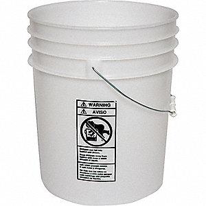 PLASTIC PAIL,ROUND,WHITE,CAP 6 GAL