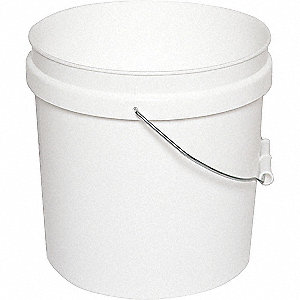 PLASTIC PAIL,ROUND,WHITE,CAP 2 GAL