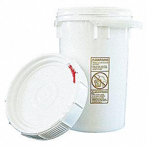 PLASTIC PAIL,ROUND,WHITE,CAP 6.5 GA