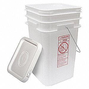 PLASTIC PAIL,SQUARE,WHITE,CAP 5 GAL