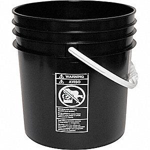 PLASTIC PAIL,ROUND,BLACK,CAP 5 GAL