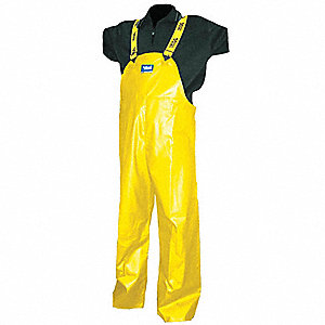 Rain Bib Overall, High Visibility: No, ANSI Class: Unrated, Polyester, PVC, 4XL, Yellow
