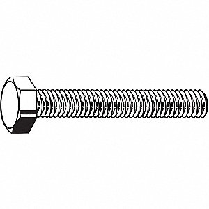 "Grade 5 Hex Head Cap Screw 1/4""-20, 3/4"" Fastener Length, Zinc Plated Fastener Finish, Steel, PK100"