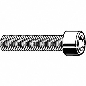 "1/4""-28 x 1/2"", Cylindrical, Socket Head Cap Screw, 18-8, Stainless Steel, Plain Finish, 100PK"