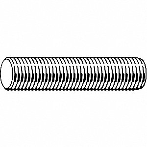 "1/4""-28x2 ft., Threaded Rod, Steel, Grade A, Zinc Plated"