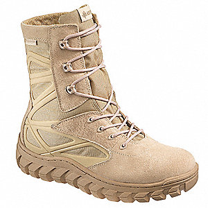 "8""H Men's Tactical Boots, Plain Toe Type, Leather / Nylon Upper Material, Desert, Size 9-1/2"