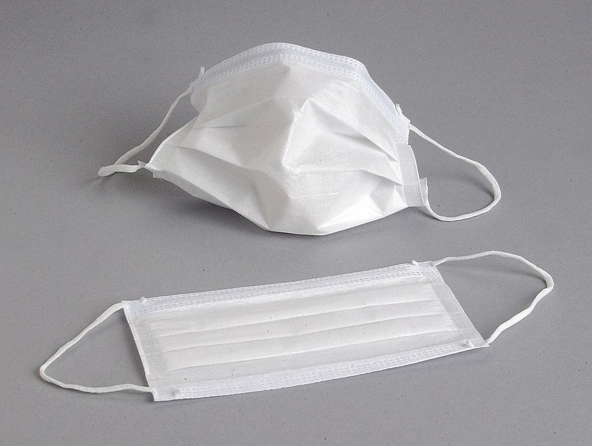 ALPHA PROTECH Surgical Mask, Ear Loops, Nose Clip Yes, White, Mask ...