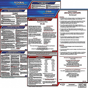 Labor Law Poster, IA Federal and State Labor Law, English