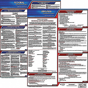 Labor Law Poster Kit, VA Federal and State Labor Law, English