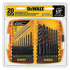 20-Pc. Pilot Point Drill Bit Set, 135°, High Speed Steel, Round Shank Type