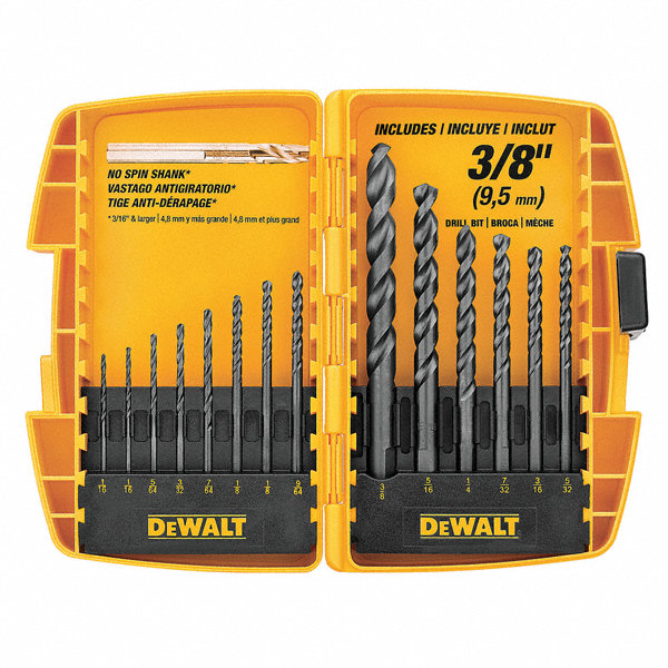 dewalt drill bit set hss assorted black oxide 29eg23