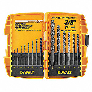 14-Pc. Pilot Point Drill Bit Set, 135°, High Speed Steel, Round Shank Type
