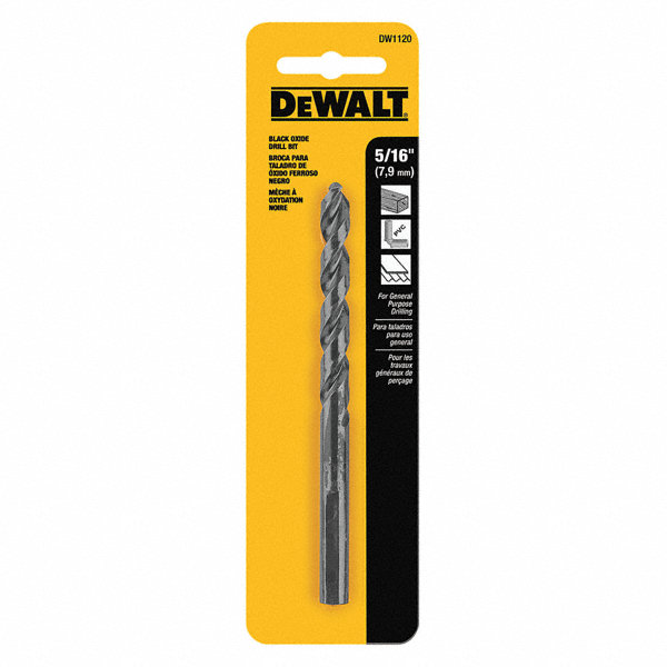 dewalt drill bit hss 5 16in black oxide 29eg24 dw1120 grainger