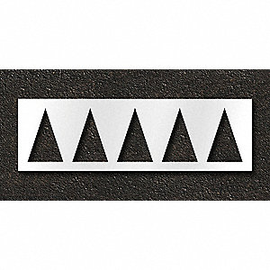 "Pavement Stencil, Highway Triangle, 18"", Polyethylene, 1 EA"