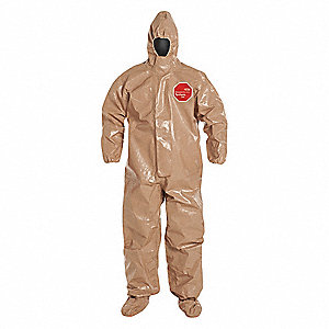 Hooded Chemical Resistant Coveralls with Elastic Cuff, Tychem® 5000 Material, Tan, 3XL
