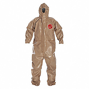Hooded Chemical Resistant Coveralls with with Attached Gloves Cuff, Tan, 4XL, Tychem® 5000