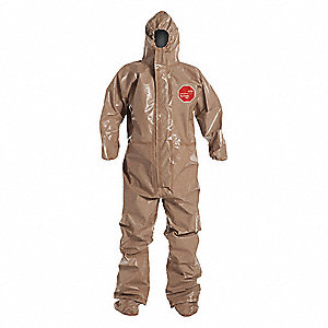 Hooded Chemical Resistant Coveralls with Elastic Cuff, Tychem® 5000 Material, Tan, S