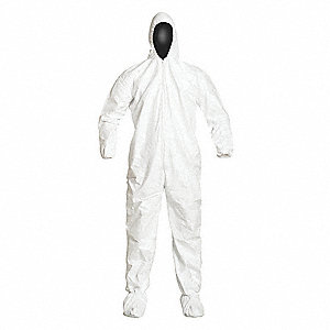 Collared Disposable Coveralls with Elastic Cuff, Tyvek® IsoClean® Material, White, M
