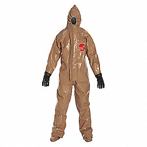 Hooded Chemical Resistant Coveralls with Elastic Cuff, Tan, 3XL, Tychem® Responder® CSM