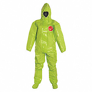 Hooded Chemical Resistant Coveralls with Elastic Cuff, Tychem® 10000 Material, Lime, 2XL