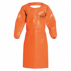Chemical Resistant Apron,Orange,2XL,PK2