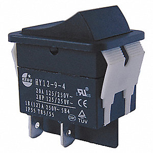 "Rocker Switch, Contact Form: DPST, Number of Connections: 4, Terminals: 0.250"" Quick Connect Tab"