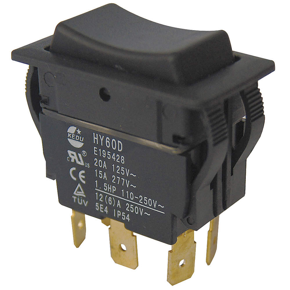 POWER FIRST Rocker Switch, Contact Form: DPDT, Number of Connections ...