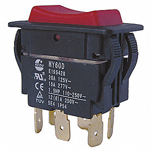 "Rocker Switch, Contact Form: DPDT, Number of Connections: 6, Terminals: 0.250"" Quick Connect Tab"