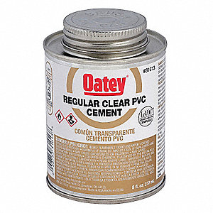 Clear Solvent Cement, PVC, Regular Bodied, Size 8, For Use With PVC Pipe and Fittings