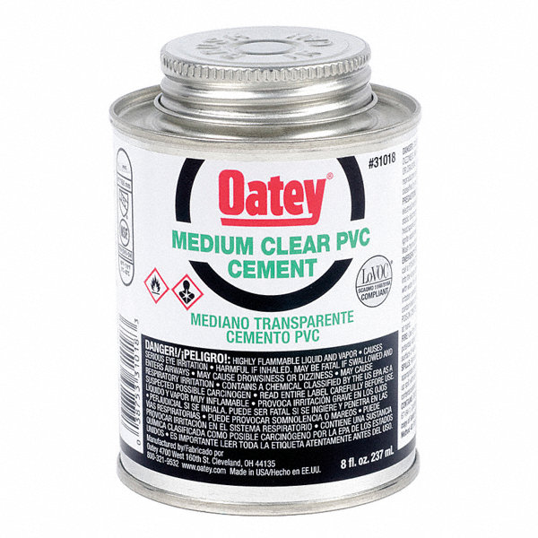 Solvent For Pvc Pipe And Cement : Oatey solvent cement clear oz for pvc pipe and