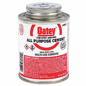All Purpose Cement, Milky-Clear, 8 oz., for PVC, CPVC, and ABS Pipe and Fittings