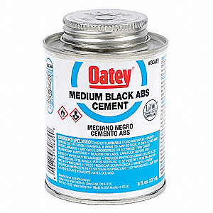 Black Solvent Cement, ABS, Medium Bodied, Size 8, For Use With ABS Pipe and Fittings