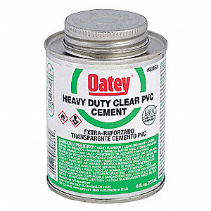PVC Cement, Clear, 8 oz., for PVC Pipe and Fittings