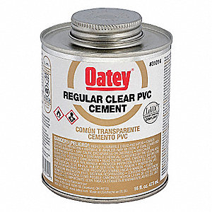 PVC Cement, Clear, 16 oz., for PVC Pipe and Fittings