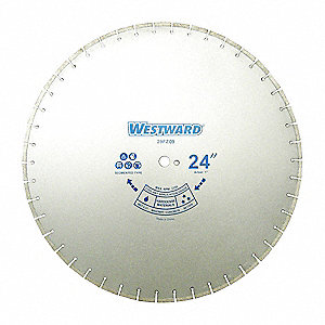 "24"" Wet/Dry Diamond Saw Blade, Segmented Rim Type, Application: Masonry"