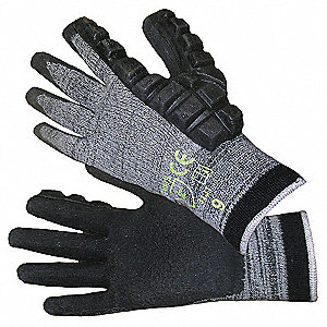 Hammer Gloves, Natural Rubber Coated Palm Material, Gray, Black, 1 PR