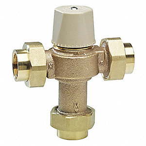 "3/4"" Union Inlet Type Thermostatic Mixing Valve, Lead Free Copper Silicon Alloy, 13 gpm"