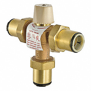 "3/4"" Quick Connect Inlet Type Thermostatic Mixing Valve, Lead Free Copper Silicon Alloy, 13 gpm"