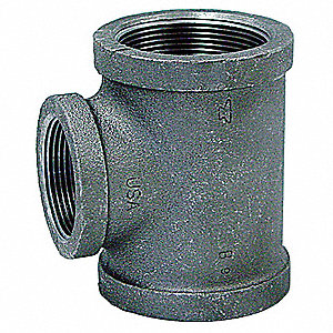 "Galvanized Malleable Iron Reducing Tee, 2-1/2"" x 2-1/2"" x 3/4"" Pipe Size, FNPT Connection Type"