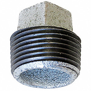 "Galvanized Malleable Iron Square Head Plug, 1-1/4"" Pipe Size, MNPT Connection Type"