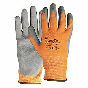 Natural Rubber Latex Cut Resistant Gloves, ANSI/ISEA Cut Level 3 Lining, Gray, Orange, S, PR 1