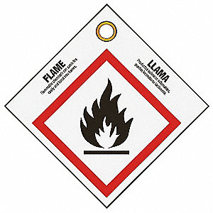 "Chemical, Gas or Hazardous Materials Safety Tags, Plastic, 3-3/4""H x 3-3/4"""