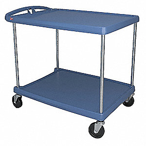 Polymer Raised Handle Utility Cart, 400 lb. Load Capacity, Number of Shelves: 2