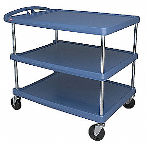 Polymer Raised Handle Utility Cart, 500 lb. Load Capacity, Number of Shelves: 3