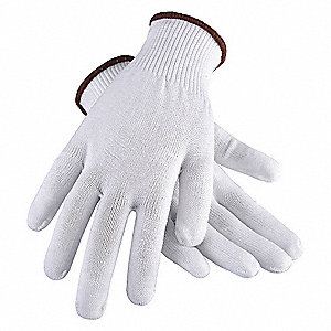 Polyester 13-Gauge Reversible Knit Gloves, White, L, 1PR