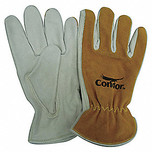 Cowhide Drivers Gloves, Shirred Wrist Cuff, Pearl/Bourbon Brown, Glove Size: S