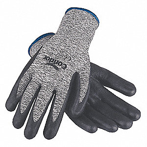 Nitrile Cut Resistant Gloves, ANSI/ISEA Cut Level 3, HPPE Lining, Black, Gray, 2XL, PR 1