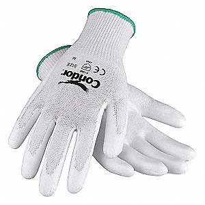 Polyurethane Cut Resistant Gloves, ANSI/ISEA Cut Level 2, HPPE Lining, White, S, PR 1