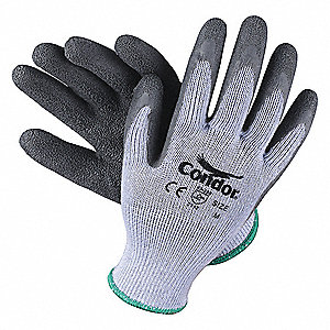 Natural Rubber Latex Cut Resistant Gloves, ANSI/ISEA Cut Level 2, Polyester Lining, Gray, S, PR 1